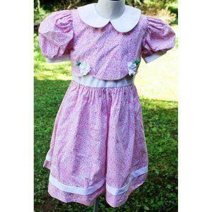 VTG 1990s Sylvia Whyte Pink Floral Full Skirt Dres